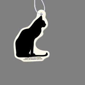 Paper Air Freshener Tag W/ Tab - Cat Sitting (Silhouette)