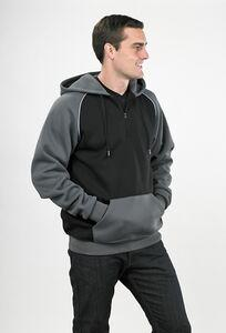 Pull-Over 1/4 Zip Hooded Ragland Sleeve Sweatshirt