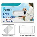 44 Yard Credit Card Size Dental Floss w/ Mirror & Pouch Custom Printed