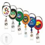 "Custom Imprinted 30"" Cord Full Color Retractable Carabiner Style Badge Reel and Badge Holder"