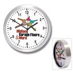"10"" Brushed Metal Wall Clock w/ Glass Lens Branded"