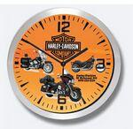 "Logo Branded 10"" Brushed Metal Wall Clock w/ Glass Lens"
