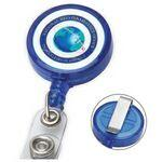"30"" Cord Round Jumbo Imprint Retractable Badge Reel with Metal Slip Clip Backing and Badge Holder Custom Imprinted"