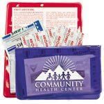 Custom Imprinted 10 Piece Economy First Aid Kit in Colorful Vinyl Pouch
