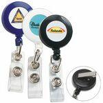 Custom Imprinted Round Badge Reel w/ Rotating Alligator Clip Back & Badge Holder Clip (Overseas) Direct Print