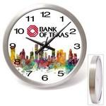 "14"" Brushed Metal Wall Clock w/ Glass Lens Branded"
