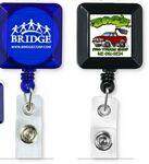 "Logo Branded 30"" Cord Square Retractable Badge Reel w/ Metal Rotating Alligator Clip & Holder (Overseas)"