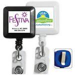 "30"" Cord Square Retractable Badge Reel & Badge Holder (Spot Color Direct) Custom Printed"