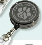 "Custom Imprinted 30"" Cord Gunmetal Colored Solid Metal Retractable Badge Reel and Badge Holder with Laser Imprint"