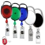 "30"" Cord Retractable Carabiner Style Badge Reel & Badge Holder (Screen Printed) Custom Printed"