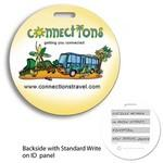 Logo Branded Recycled Mini Round Write-on Surface Luggage Bag Tag (4 Color Process)