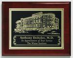 "Aberdeen Rosewood Plaque 6"" x 8"" with Lasered Plate Custom Printed"