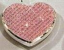 Pink Glitter Heart Compact Mirror Logo Branded