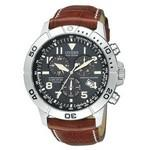 Citizen Men's Eco-Drive Stainless Steel Chronograph Leather Strap Watch from Pedre Logo Printed