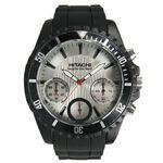 Branded Men's Chronograph Black Sport Watch with Silver Dial