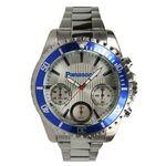 Men's Chronograph Bracelet Watch W/ Silver Dial & Blue Rotating Bezel Custom Imprinted