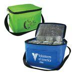 Custom Imprinted 6 Pack Cooler Bag - Polyester Insulated Lunch Bag with Handle & Pocket