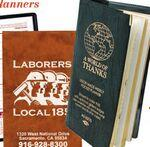 Logo Branded Executive Vinyl Cover Weekly Planner & Map w/ Gilded Edges & Metal Corners