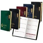 Logo Branded Executive Black Vinyl Cover Weekly Planner & Map w/ Gilded Edges & Metal Corners
