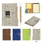 "4"" x 6"" Woodgrain Look Notebook With Sticky Notes And Flags Custom Imprinted"