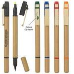 Logo Printed Dual Function Eco-Inspired Pen With Highlighter