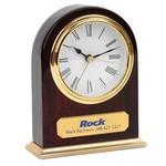 Clock - Arched Wooden Desk Alarm Clock w/ Gold Trim Custom Etched