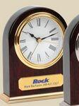 Clock - Arched Wooden Desk Alarm Clock w/ Gold Trim Laser-etched