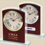 Custom Etched Clock - Glass & Wood Desk Alarm Clock w/ Silver Trim