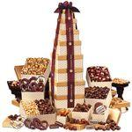 Logo Branded Golden Delights Giant Party Tower with Sheer Burgundy Ribbon