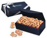 Extra Fancy Jumbo Cashews in Navy Magnetic Closure Gift Box Custom Printed