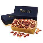 Deluxe Mixed Nuts in Navy & Gold Gift Box Logo Branded