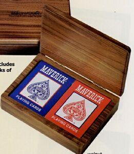 Wood Double Deck Playing Card Box w/Cards