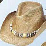 Raffia Straw Cowboy Hat w/ Beaded Band Personalized