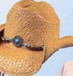 Logo Printed Raffia Straw Western Hat w/Decorative Band