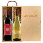 Rustic Laser Engraved Wood Box with Two Custom Labeled Wines Custom Labeled