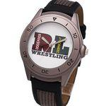 Logo Printed Sporty boy size watch with leather/nylon band, magnifying crystal lens, Japan quartz movement.
