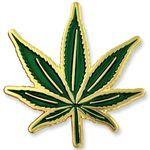 Logo Printed Marijuana Pot Leaf Pin