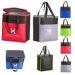 Custom Imprinted Two-Tone Flat Top Insulated Non-Woven Grocery Tote Bag