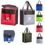 Two-Tone Flat Top Insulated Non-Woven Grocery Tote Bag Custom Printed