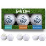 Customized 3 Pack Golf Ball Lip Balm, Mints & Sunscreen