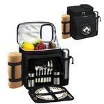 Picnic Set for 2 with Cooler, Coffee Service & Blanket Logo Branded