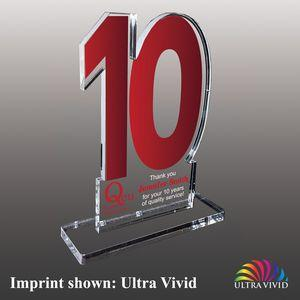 Number Ten Shaped Acrylic Awards - Small