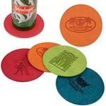 iPosh PU Leather Round Coaster (Orange) Custom Imprinted