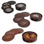 Custom Imprinted Atlantis Leather Round Coaster Set (Black)