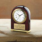 "Elegant Rosewood Piano Finished Award Clock (5""x4""x1 1/2"") Logo Branded"