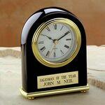 "Elegant Black Piano Finished Award Clock (5""x4""x1 1/2"") Custom Printed"