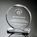 "Clear Acrylic Award Clock (6""x5""x2"") Custom Imprinted"