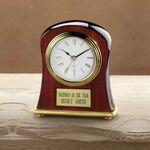 "Piano Finished Wood Award Clock w/ Curved Sides (5""x4""x1 1/2"") Custom Imprinted"