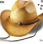 Outback Tea Stained Raffia Straw Cowboy Hat w/ String Chin Cord Personalized