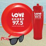 Custom Printed Beach Kit 28 Red - Bottle Cancun, Flyer & Sunglasses Kit